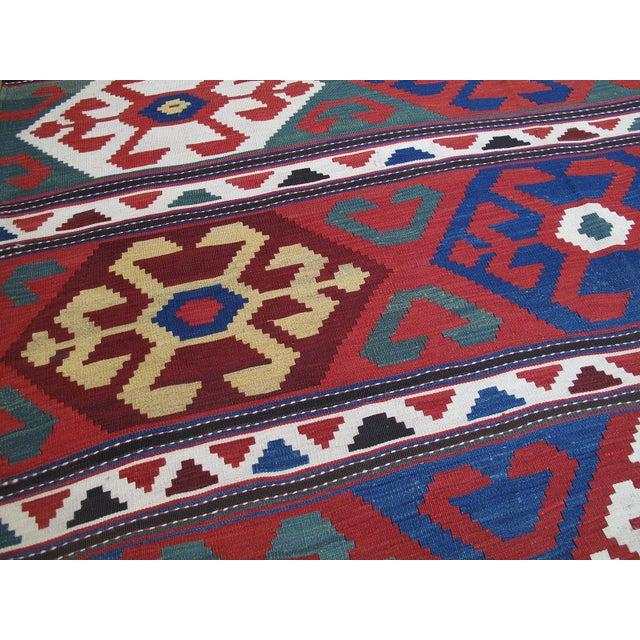 "Late 19th Century ""Primary Colors,"" Antique Kazak Kilim For Sale - Image 5 of 10"