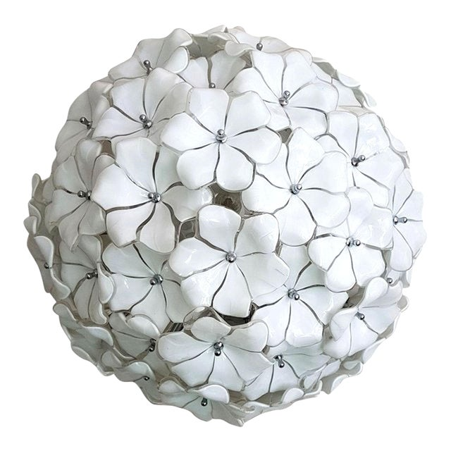 Large Murano White Flowers Chandelier, by Mazzega, Mid Century Modern, 1970s For Sale