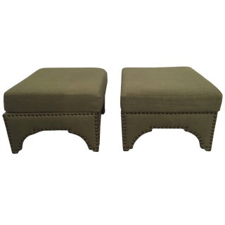 Candemir Ottoman by Nathan Turner, Asbury Linen Moss Green For Sale