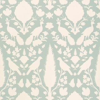 Sample - Schumacher Chenonceau Wallpaper in Aquamarine For Sale