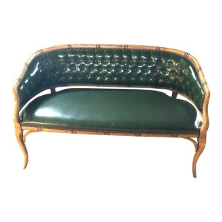 1940s Vintage Library Green Tufted Faux Leather and Bamboo Settee For Sale
