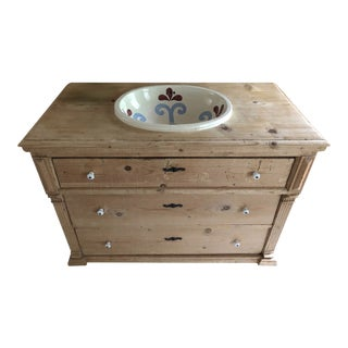 Custom Pine 3-Drawer Vanity With Talavera Sink For Sale