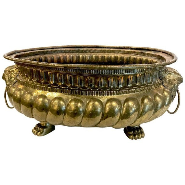 Gold 19th Century Brass Planter For Sale - Image 8 of 8