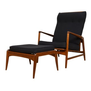Kofod Larsen Danish Walnut & Black Adjustable Lounge Chair With Ottoman For Sale