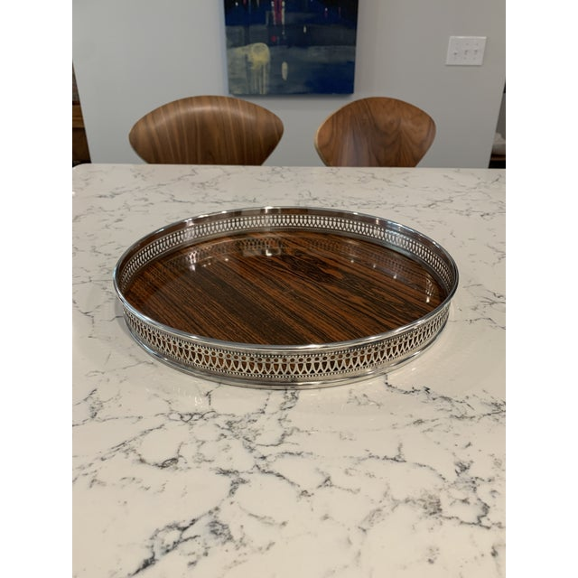 Mid-Century Modern Mid 20th Century Vintage Sheffield Silverplate & Rosewood Formica Serving Tray For Sale - Image 3 of 10