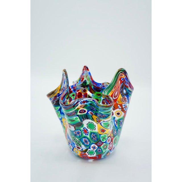 Glass Vintage Murano Multicolored Millefiori Handkerchief Vase For Sale - Image 7 of 10