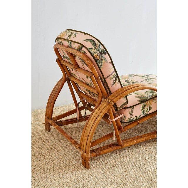 Mid 20th Century Paul Frankl Style Three Strand Rattan Chaise Lounge For Sale - Image 5 of 13
