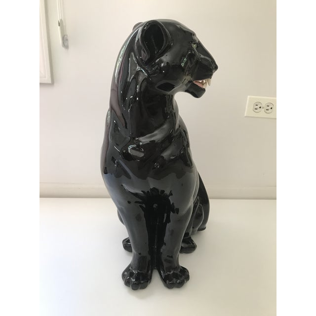 Contemporary Vintage Black Panther Ceramic Statue For Sale - Image 3 of 6