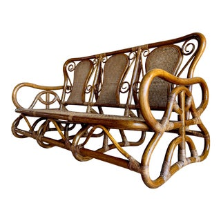 Bentwood Bamboo Woven Wicker and Rattan Thonet Style Vienna Secessionist Sofa For Sale