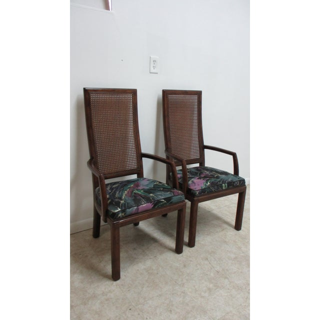 1980s Henredon Scene One Campaign Dining Room Arm Chairs ...