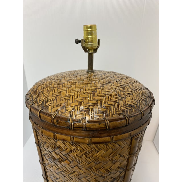 Vintage 1970s Woven Rattan Table Lamp For Sale In West Palm - Image 6 of 7