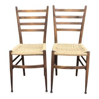 Vintage Mid Century Italian Straight Back Chairs- A Pair For Sale