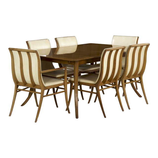 t.h. Robsjohn-Gibbings for Widdicomb Walnut Dining Table W/ Six Chairs Circa 1957 For Sale