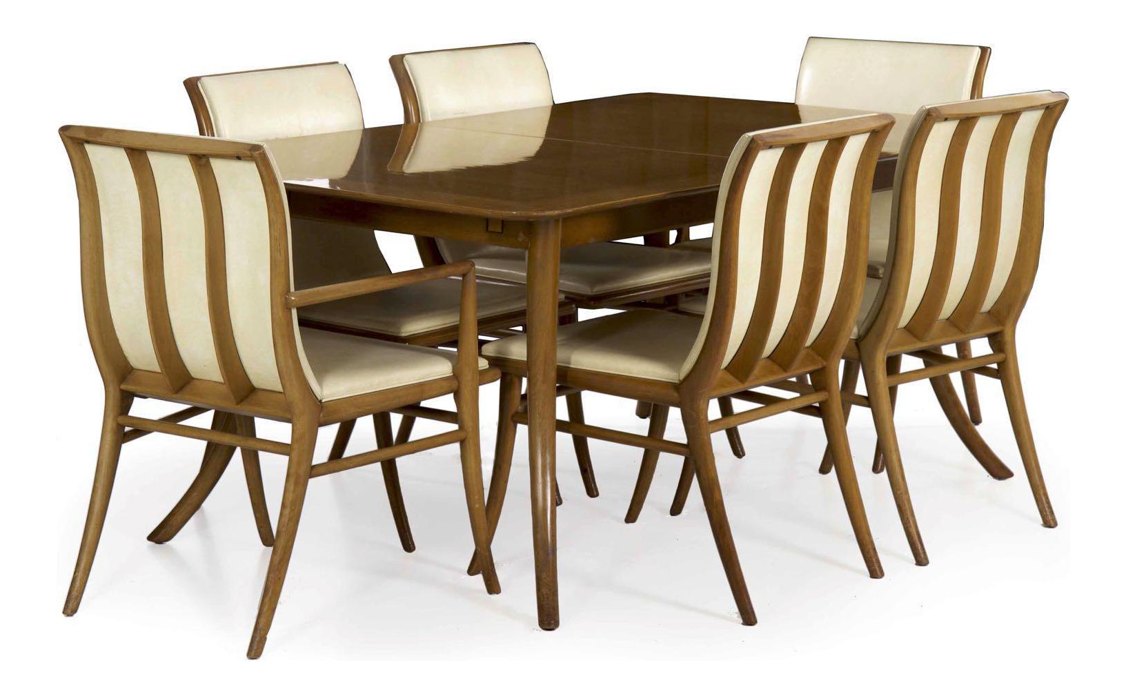T.h. Robsjohn Gibbings For Widdicomb Walnut Dining Table W/ Six Chairs  Circa 1957