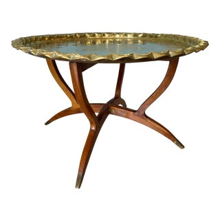 Mid Century Moroccan Brass Tray Table For Sale