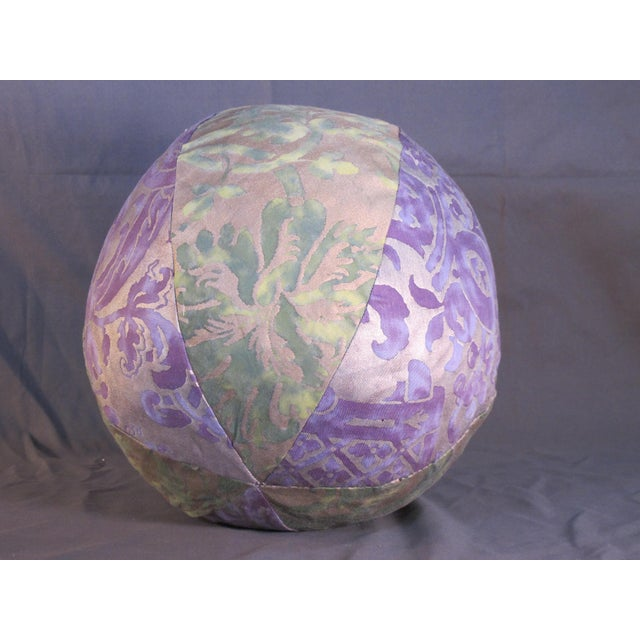 Mariano Fortuny Fortuny Purple and Green Fabric Orb Pillow For Sale - Image 4 of 4