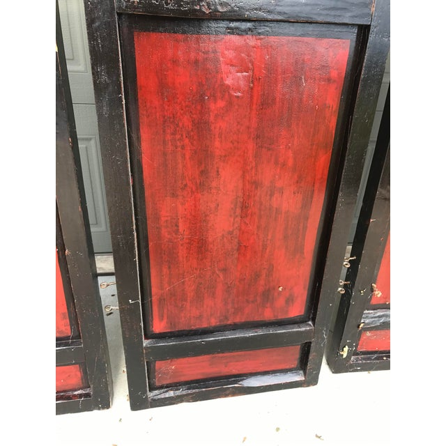 Qing Dynasty Chinese Lacquer Painted Folding Exterior Doors - Set of 4 For Sale - Image 10 of 11
