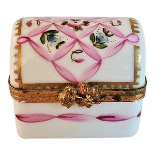 Vintage Limoges Domed Casket Ring Box For Sale