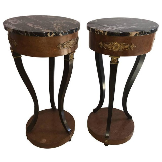 Empire Style Marble Top Pedestals - a Pair For Sale