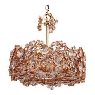 Outstanding Gilded Brass and Crystal Glass Encrusted Chandelier by Palwa For Sale