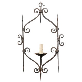 Mid-20th Century French Single Light Scrolled Hand-Forged Iron Chandelier For Sale