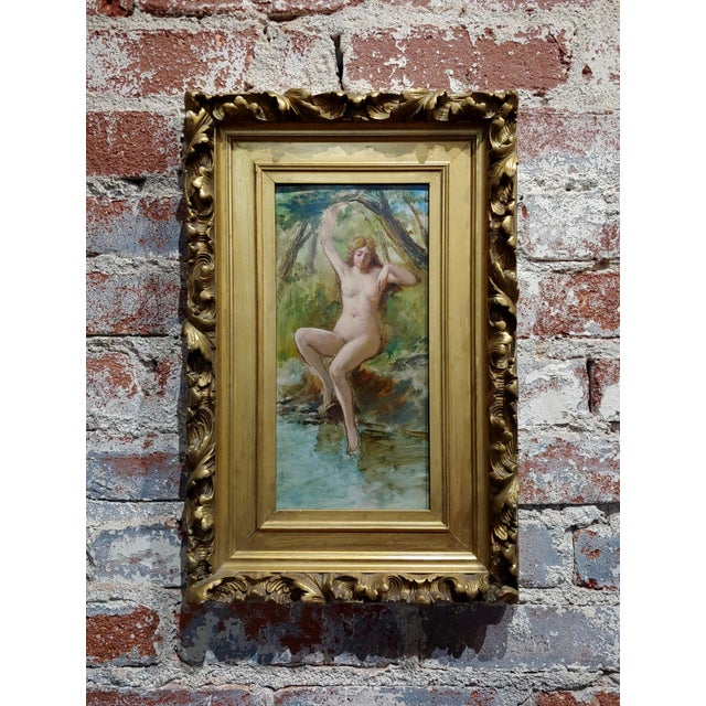 Oil Paint 19th Century French School-Nude Nymph by the River -Oil Painting For Sale - Image 7 of 7