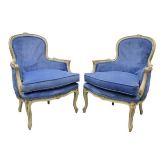 Early 20th Century Vintage Distress Painted French Louis XV Style Blue Bergere Chairs- a Pair For Sale