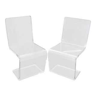 Pair of Thick Heavy Bent Lucite Dining Side Chairs Z Shape For Sale