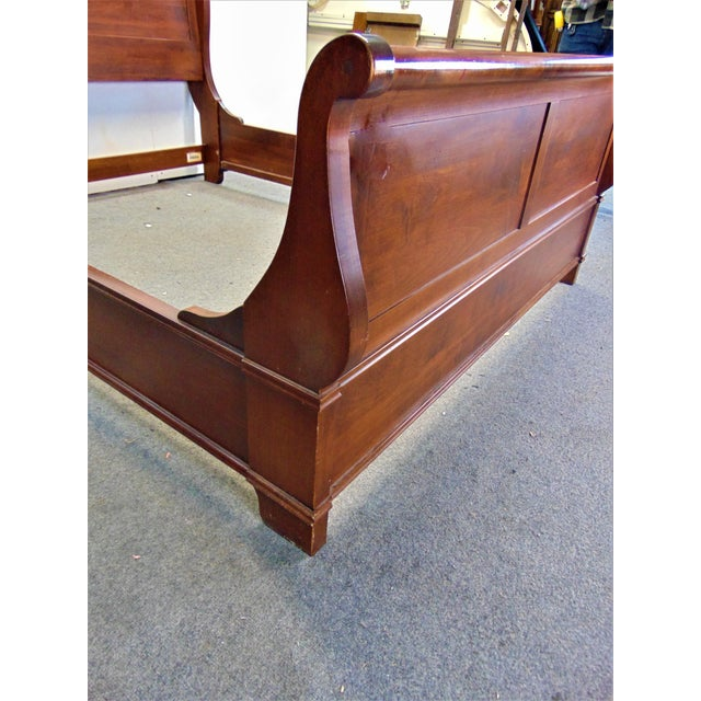 Wood Nichols & Stone Empire Style Cherry Queen Size Sleigh Bed For Sale - Image 7 of 8