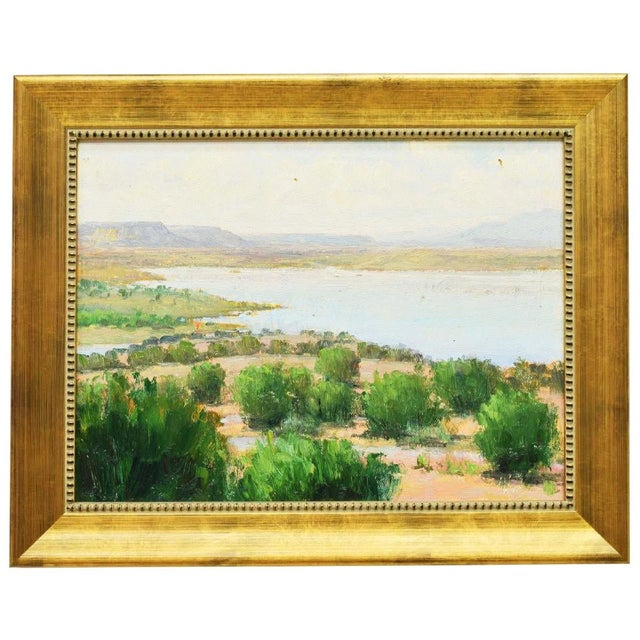 Wood Framed New Mexico Landscape Desert and River Oil Painting by Don Ward For Sale - Image 7 of 7