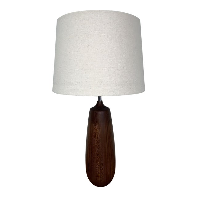 Vintage Mid Century Solid Walnut Table Lamp For Sale