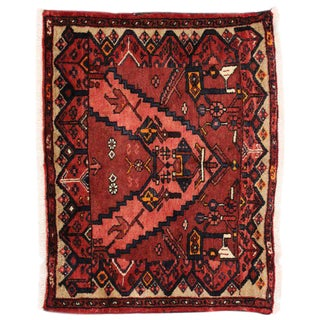 Vintage Hamadan Accent Rug with Modern Style