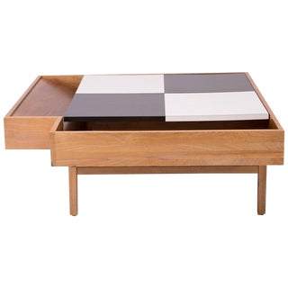 John Keal Brown Saltman Checkered Top Walnut Coffee Table