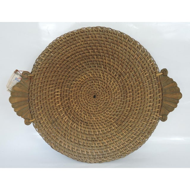 1970s Vintage Hapao Saucer Basket With Hand Carved Handles For Sale - Image 5 of 5