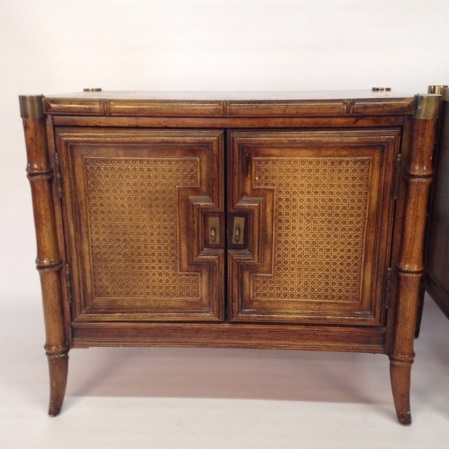 Hollywood Regency Faux Bamboo End Tables - A Pair For Sale - Image 3 of 7