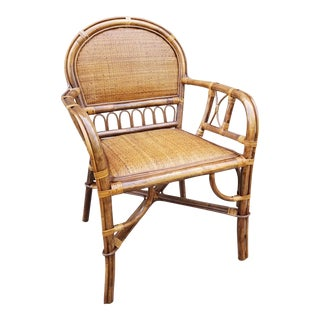 Hollywood Regency Style Rattan & Bamboo Side Chair