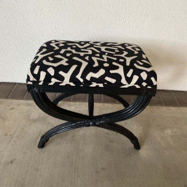 Modern Modern Black Bamboo Bench For Sale - Image 3 of 8