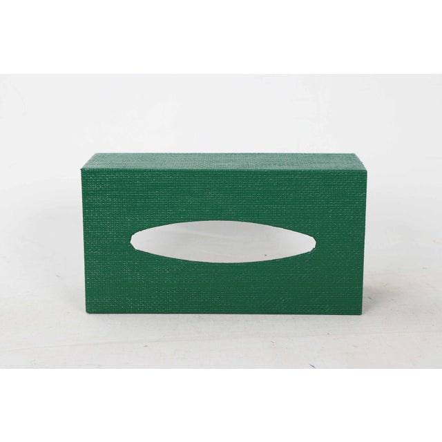 Late 20th Century Green Linen Covered Tissue Box Cover For Sale - Image 5 of 8