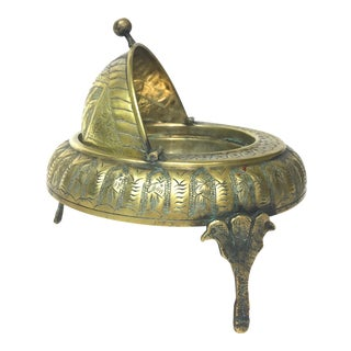 Footed Brass Persian Caviar Server For Sale