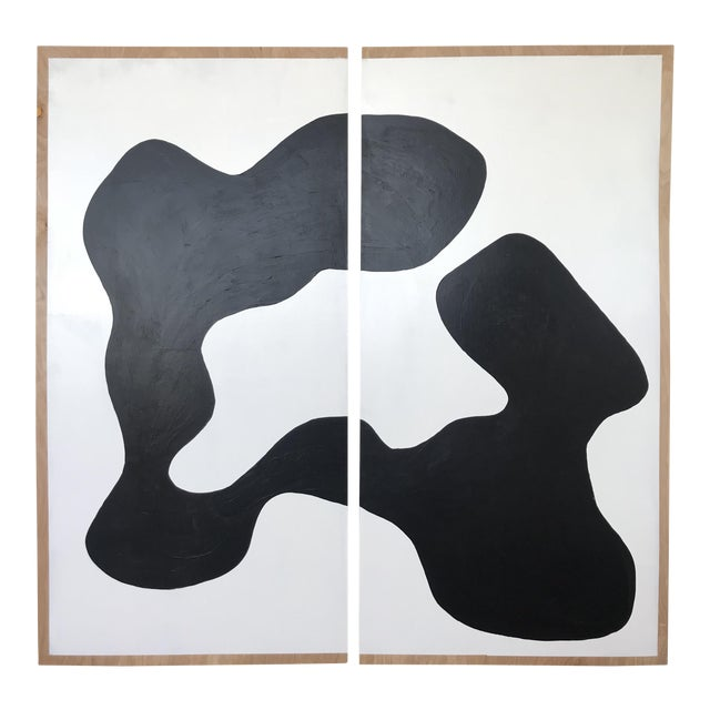 Oversized Butterfly Black and White Monochrome Painting on Plywood - 2 Pieces For Sale In Los Angeles - Image 6 of 6