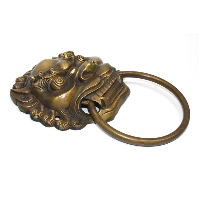 Late 20th Century Vintage Large Lion Mastiff Brass Knockers- a Pair For Sale In Los Angeles - Image 6 of 13