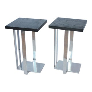 Early 20th C. Vintage American Chrome and Ebonized Wood Side Tables - a Pair For Sale