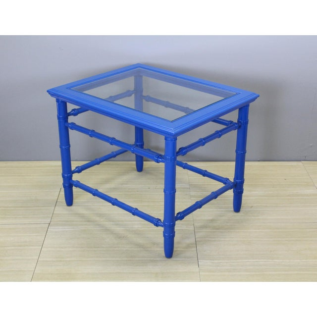 Mid-Century Royal Blue Side Tables - A Pair For Sale - Image 5 of 10