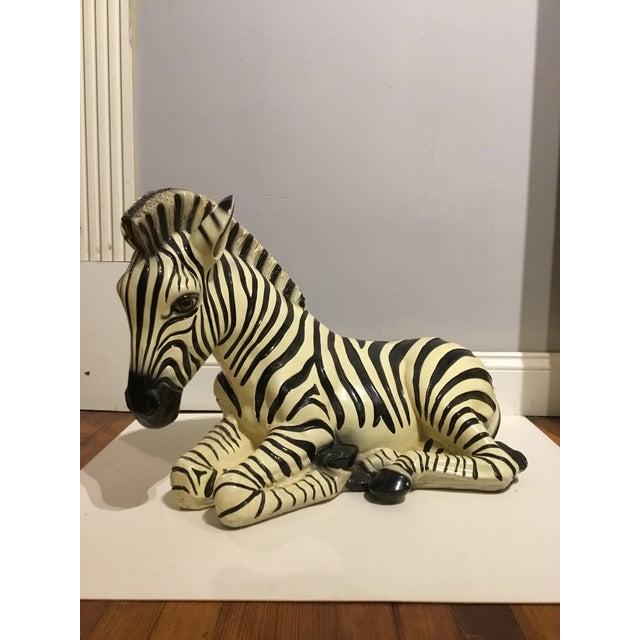 Large Italian Ceramic Zebra For Sale - Image 9 of 9