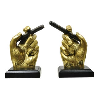 20th C Mid Century Modern Italian Bronze Brass Hand & Cigar Bookends - a Pair For Sale