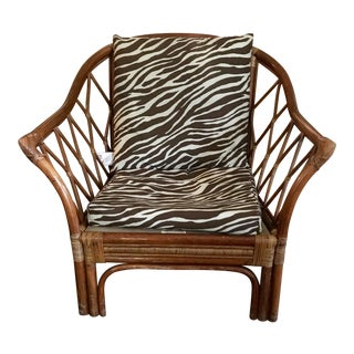 1980s Boho Chic Hooker Furniture Zebra Cushion Wicker Chair For Sale