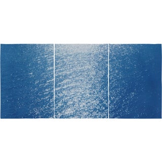 Contemporary Amalfi Coast Cyanotype Triptych on Paper For Sale