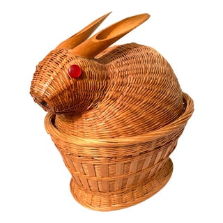 Vintage Woven Wicker Baby Bunny Box For Sale