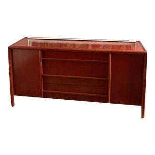 Robsjohn Gibbings for Widdicomb Mid Century Modern Red Lacquer Sideboard For Sale