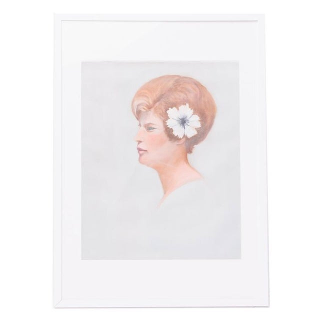 Vintage Pastel Portrait of Woman with Hibiscus For Sale